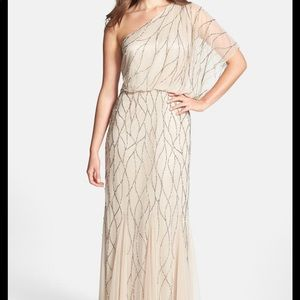 Adrianna Papell 1 Shoulder Champagne Beaded dress